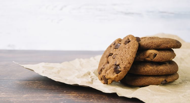 Baked Fresh Chocolate Cookies on Brown Paper